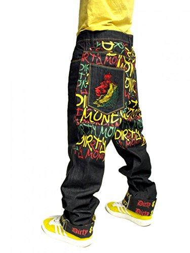 Dirty Money Rasta Lion Frieden Jeans - Raw Indigo Jeans, W36 - L34 - Zum Umschlagen (Frieden Denim)
