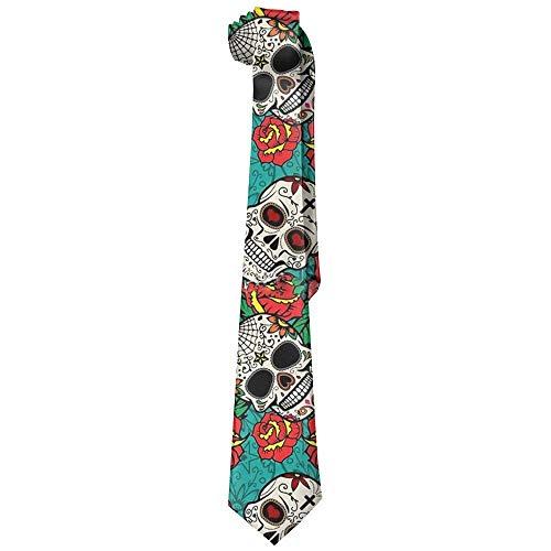 Sugar Skull Roses Pattern Mens Fashion Skinny Necktie Ties Novelty Necktie Silk - Victorian Rose Sugar