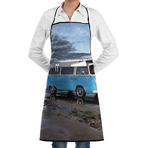 Grill Aprons Kitchen Chef Bib Blue Bus On The Sea Extra Long Adjustable Ties for Cooking,BBQ,Baking -