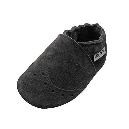 Mejale Weiche Sohle Leder Babyschuhe Lauflernschuhe Krabbelschuhe Kleinkind Kinderschuhe Hausschuhe(Grey,18-24 Monate) (Kleinkind-jungen-leder-schuhe)