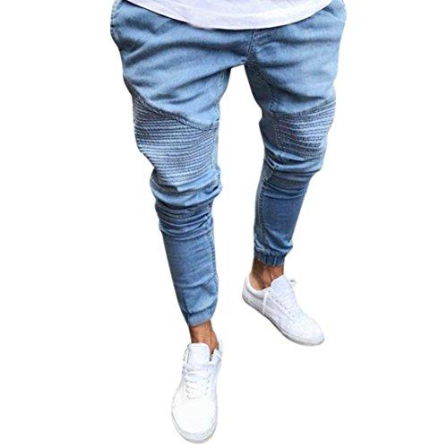 Denim Hosen Fußhosen Herren, Sunday Stretchy Slim Fit Denim Hosen Casual Lange Gerade Hosen Skinny Jeans Sommer Streifen Neues Design Outdoor Pants (S, Blau)