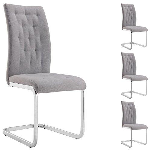 IDIMEX 4er Set Esszimmerstuhl Schwingstuhl Freischwinger Chloe, mit Stoffbezug in grau, Metallgestell hochwertig verchromt