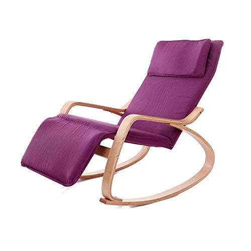 OHHG Schaukelstuhl Lässig Schaukeln Faul Deck Nickerchen Lounge Stuhl Leicht zu waschen Schlafzimmer für Erwachsene Balkon Wohnzimmer Büro Lila Lager Gewicht 150kg -