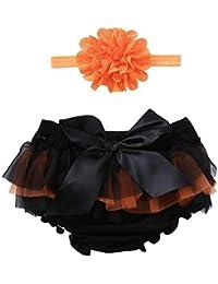 JYC Conjuntos para niñas,Ropa para Chicas,2 Piezas Halloween Niño Bebé Chicas BowknotGasa Pantalones Cortos+Diademas Conjunto Equipar