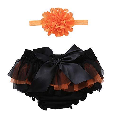 Bicchierini del bowknot del bambino di halloween di 2pcs + le fasce impostato,yanhoo (0-24 m) pantaloncini di chiffon per bambini in pantaloncini + vestito a due pezzi con fascia per capelli