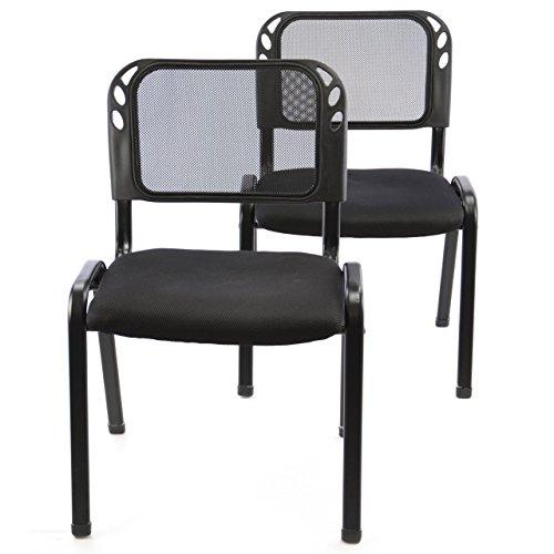 Nexos 2er Set Bürostuhl Konferenzstuhl Besucherstuhl Schwarz Gepolsterte Sitzfläche stapelbar 52,5...
