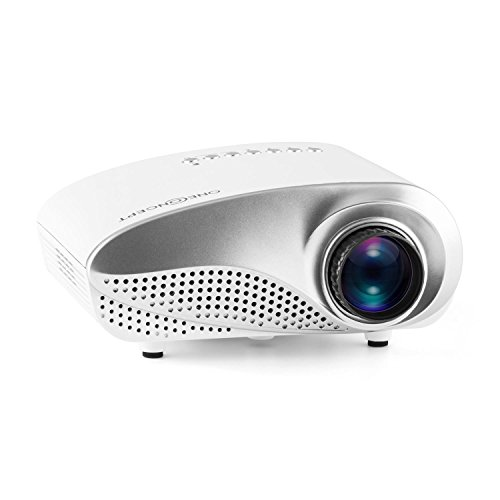 oneConcept Lumio WH Mini LED-Beamer Tragbarer Full HD Projektor (HDMI-Eingang, USB-Port, SD-Slot, VGA, AV, Fernbedienung, leuchtstark, bis zu 50.000 Stunden Betriebszeiten, Mediaplayer) weiß