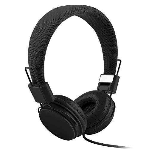 XdremYU Bluetooth Headset,Mikrofon EIN eufor Ohrhorer Funk Dual Rauschunterdrückung Candy Color Faltbarer HiFi-Stereo-Kopfhörer für kabelgebundene Steuerung mit Mikrofon Black