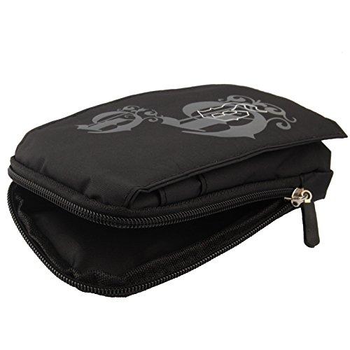 "DFV mobile® - Multi-functional Vertical Stripes Pouch Bag Case Zipper Closing Carabiner for =>      APPLE IPHONE 6 [4,7""] > BLACK XXL (19 X 10.5 cm) Black (16 x 9.5 cm)"