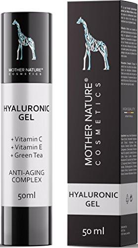 Hyaluronsäure Konzentrat - OHNE Parabene, Silikone, Parfums, PEGs, Hormone- HOCHDOSIERT 50ml - Hyaluron Serum Gel mit Vitamin C und E