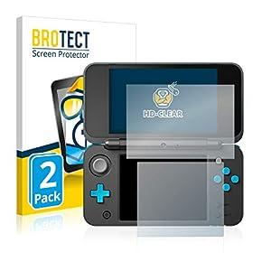 BROTECT Schutzfolie kompatibel mit Nintendo 2DS XL (2 Stück) klare Displayschutz-Folie