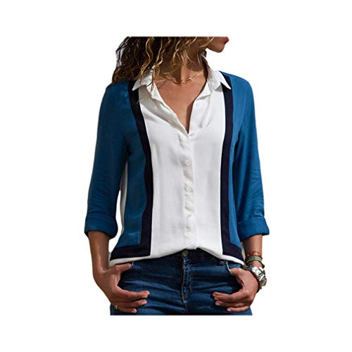 Women Striped Long Sleeve Chiffon Blouse Turn Down Collar Office Shirt Casual Tops -