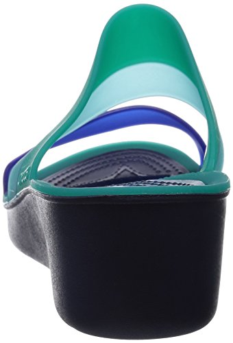 crocs Damen Colorblockáwedgeáw Sandalen Tropical Teal/Nautical Navy