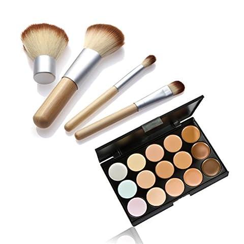songqee Make 15Farben Contour Face Creme Make-up Concealer Palette Blush Brush Foundation Puder Pinsel Set Bambus + (Olive Creme Foundation)