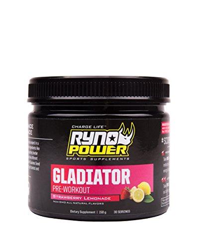 Ryno Power Gladiator Pre Workout - Nicht GVO / Glutenfrei / Natürliches Aroma - Zweistufiger Energy Booster (30 Portionen)