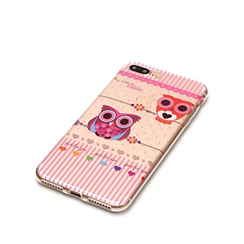 iPhone 7 Plus Custodia, Fiore Nero Cartoon Case Pittura Pattern Morbido TPU Cover Silicone Gomma Gel Crystal Transparent Clear Ultra sottile iPhone 7 Plus copertura, Graffi Prova # # 2