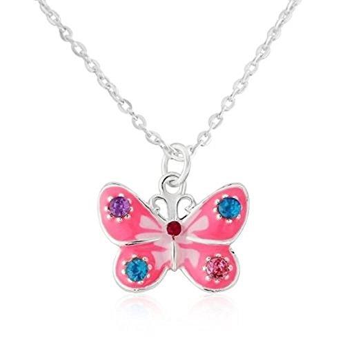 Hübsche pinke Schmetterling Halskette