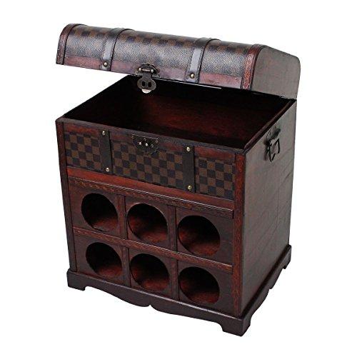 Weinregal im Kolonialstil Aufbewahrung Kiste Dekoration Holz Schatz Truhe 6x Flaschen Harms 304006
