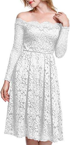 Meyison Damen Vintage 1950er Off Schulter Spitzenkleid Knielang Festlich Cocktailkleid Abendkleid Rockabilly Kleid Weiß-XL
