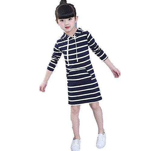 Amlaiworld Baby Mädchen Niedlich gestreift sport kleider mode kinder Freizeit warm langarmshirt kleidung,1-6Jahren (3 Jahren, Blau)
