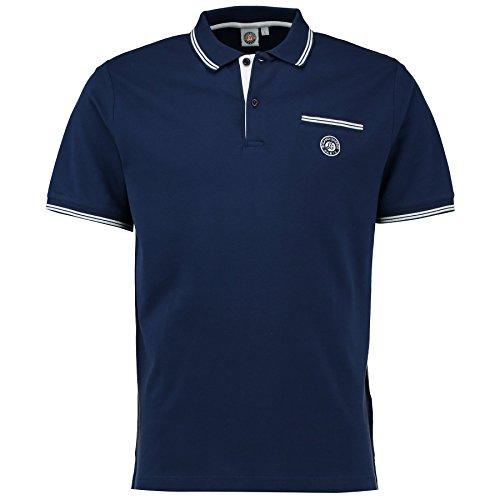 Roland Garros Polo Homme En Coton Pique Logo Monochrome Et Poche Marine