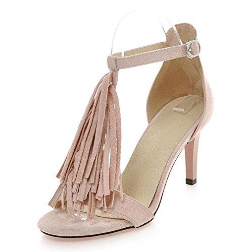 SHINIK Frauen Open Toe Knöchelriemen Pumps Sommer Neue Sandalen Frosted PU High-Heel Gürtelschnalle Quaste Römische Schuhe Große Größe Beige