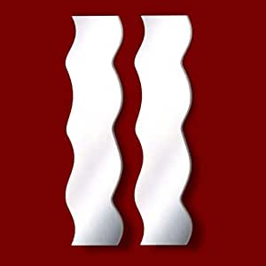 Wavy Shatterproof Acrylic Safety Mirrors (30x 12cm each) by Mirrors-Interiors