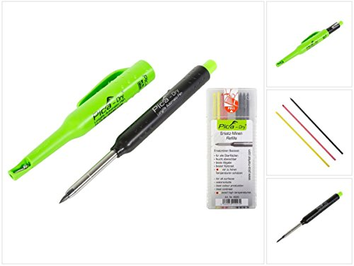Pica DRY Longlife Automatic Pen Baumarker Tieflochmarker mit Graphitmine + 1 x 8 tlg. Ersatzminen Basis-Set Bunt