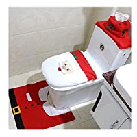 Christmas toilet seat cover Santa Toilet Seat Cover and Rug Set Red Christmas Decorations Bathroom Set of 3 Santa Claus