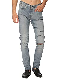 Estrolo One Side Quad Slashed And Ripped Men's Jeans