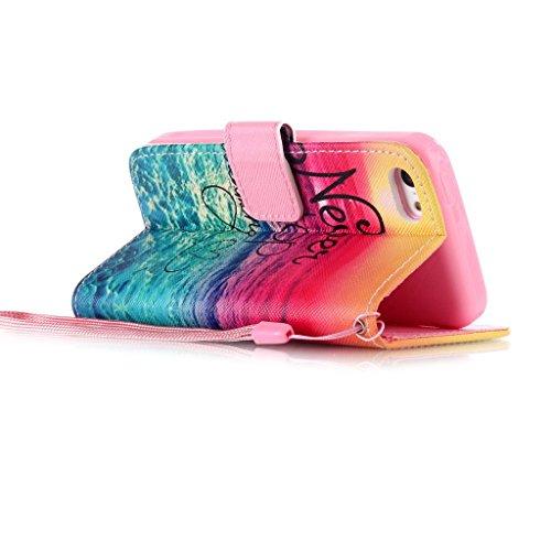 Wallet Lederhülle für Apple iPhone 5G 5S, Yihya Dünne PU Leder Hülle Wallet Flip Case Tasche mit Stand Halter, Kreditkarten Steckplätze Klappbar Etui Cover Schutzhülle + Stift - Muster Feder Traumfänger
