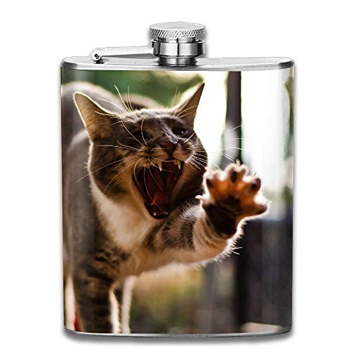 Edelstahl Flachmann 7 Unzen (kein Trichter) Katze lustige Haltung Gähnen Pfote voll gedruckt