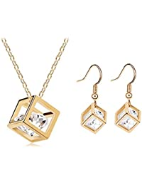 Womage 18K Gold Plated Austrian Crystal Heart Of Diamonds Pendant Set For Women - Jewl-10