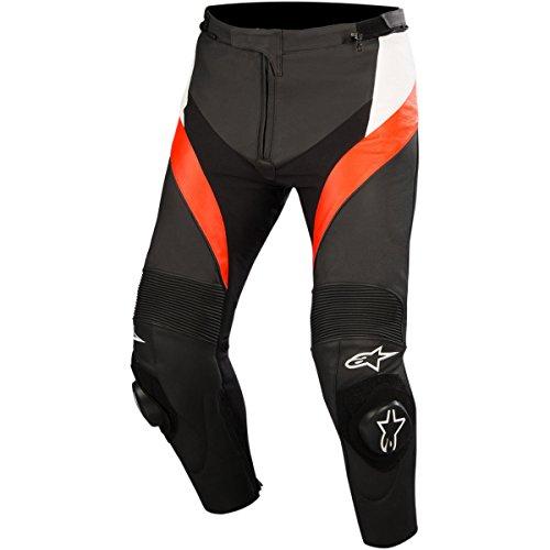 Alpinestars Motorrad Lederhose Missile Pants, BLACK WHITE RED FLUO, 44