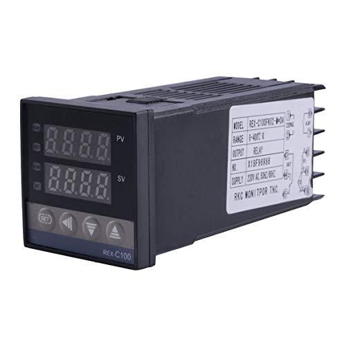 REX-C100 Dual-Relais-Ausgang LED digitale PID Intelligente Temperaturregler-Kit con sensore K-Sonden 0~400 ℃ ℃ Schwarz) -