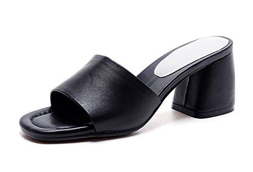 En sandales d'été avec le mot cool pantoufles épais avec des chaussures mode pantoufle de dame Black