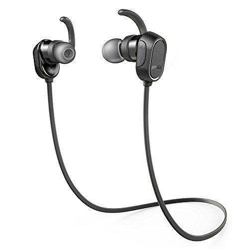 Anker SoundBuds Bluetooth Kopfhörer In Ear Halsband Sport Ohrhörer, 8-Stunden-Spielzeit, IPX4 spritzwasserfest für Joggen, Workout, Fitness, Headphones mit Mikrofon für iPhone, Android, MP3 & Weitere (Schwarz)