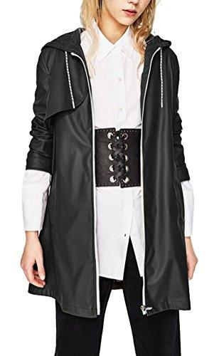 Brinny Femme Regenjacke Combinard Manteau Imperméable à Capuche Manches Longues Veste de Pluie Fermeture Eclair (FR L/Asia XL, JK19-Noir)