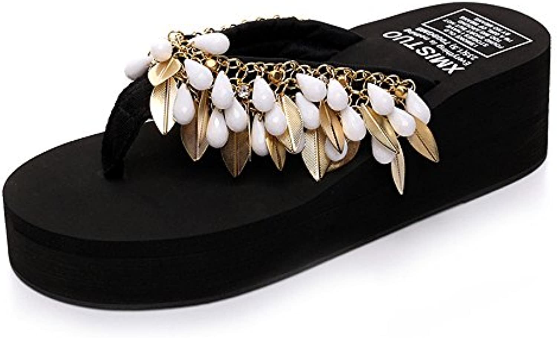 HAIZHEN zapatos de mujer 5.5cm La playa antirresbaladiza de los deslizadores gruesos simples de la manera del...