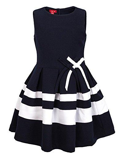 La-V Festliches Kleid gestreift blau mit Schleifen+1 Haarschmuck/Größe 146