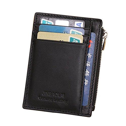 Genda 2Archer Hommes avant poche cuir carte affaire Zip poche petit porte-monnaie (Noir)