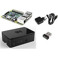 Starter 4er Set : Raspberry Pi 2 Model B / 2000mA Netzteil 2A / schwarzes Gehäuse / Wifi Wlan Dongle Edimax 7811