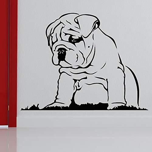 Verkauf Tier Wohnkultur Vinyl Wandtattoo Aushöhlen Kleber Träge Bulldog Wandaufkleber Wohnzimmer Dekoration 57X44CM