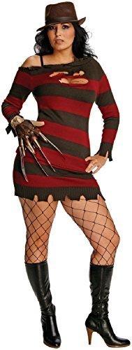 (Fancy Me Damen Miss Freddy Krüger Nightmare on ELM Street Halloween Horror TV Film Kostüm Kleid Outfit 14-18 Übergröße)