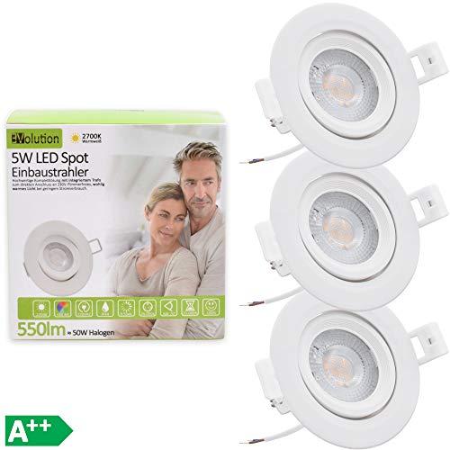 3x Evolution LED Einbaustrahler 5W 550lm IP44 Strahler Set 230V 40.5mm flach Wohn und Badezimmer schwenkbar drehbar 2700k warmweiß