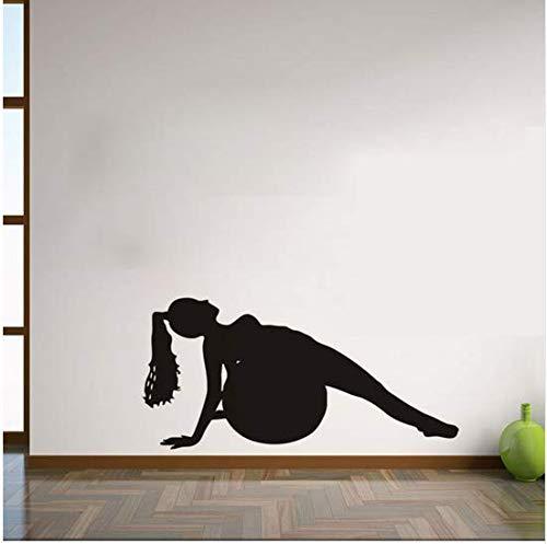 (Newberli Mädchen Spielen Yoga Vinyl Wandaufkleber Abnehmbare Wasserdichte Vinyl Aufkleber Selbstklebende Wandbild Für Gym Hintergrund Kinder Schlafzimmer)