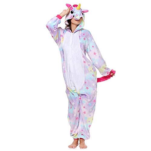 Anbelarui Tier Skelett Pinguin Dinosaurier Panda Einhorn Kostüm Damen Herren Pyjama Jumpsuit Nachtwäsche Halloween Karneval Fasching Cosplay Kleidung S/M/L/XL (XL, Stern Einhorn)
