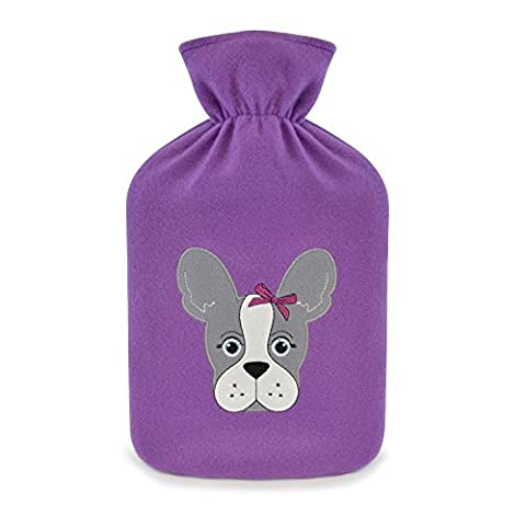 Hot Water Bottle with Novelty Pug or French Bulldog Plush Super Soft Cover Premium Natural Rubber 1 litre Hot Water Bag - Helps provide warmth and comfort (Purple - French