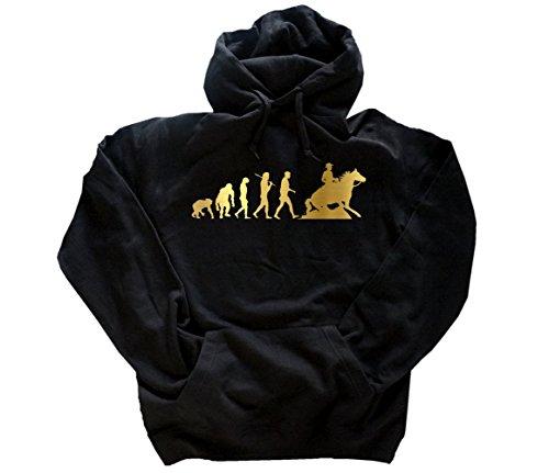 Gold Edition Sliding Stop Rodeo Western Reiten Pferd Evolution Kapuzensweatshirt Hoody Schwarz XXXL