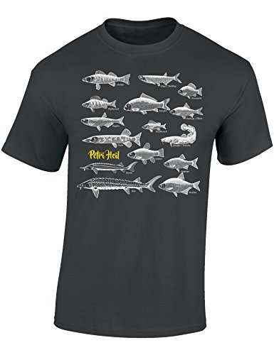 T-Shirt: Fische Petri Heil - Geschenk für Angler - Anglerbekleidung Herren - Angelkleidung Männer - Angel - Anglerin - Fishing - Fisch - Grau - Army - Spruch - Motiv - Lustig, Dunkelgrau, L -